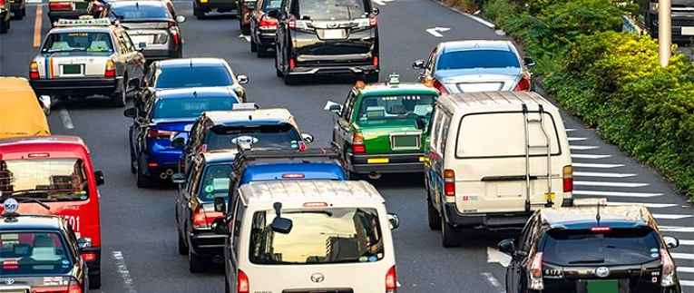 Carros nas ruas do Japão