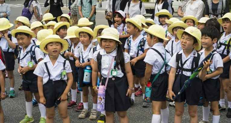 grupo de crianças indo a escola