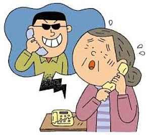 Desenho de idosa falando com golpista no telefone