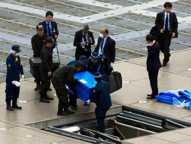 drone não identificado é retirado em caixa selada