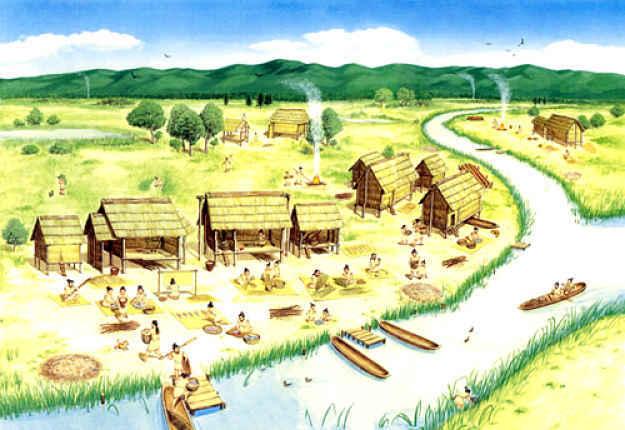 Ilustração de assentamento Jomon