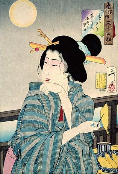 Ilustração japonesa comendo tempura
