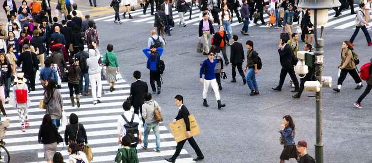 Rua do Japão movimentada