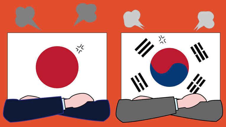 Bandeiras do Japão e Coreia do Sul