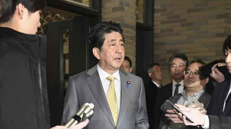 Shinzo Abe faz declaração a imprensa