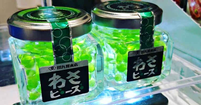 Pote de pérolas de wasabi