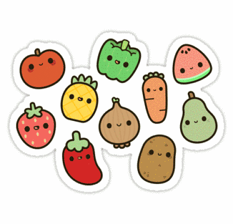 Ilustração de frutas e legumes