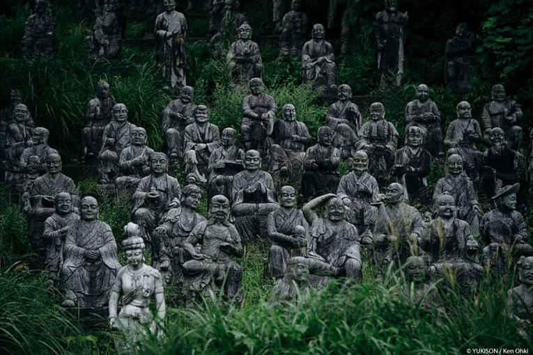 estátuas em vila de Toyama