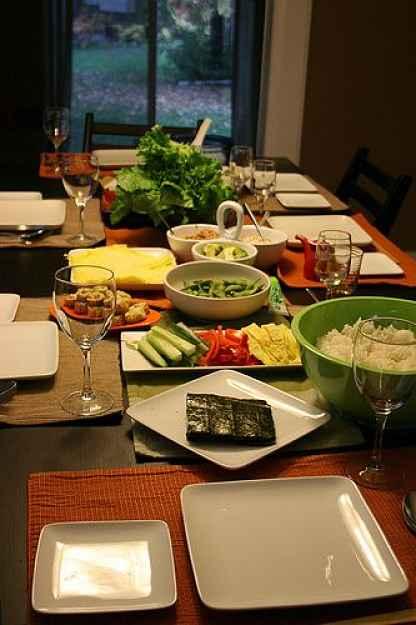 Ingredientes temaki na mesa
