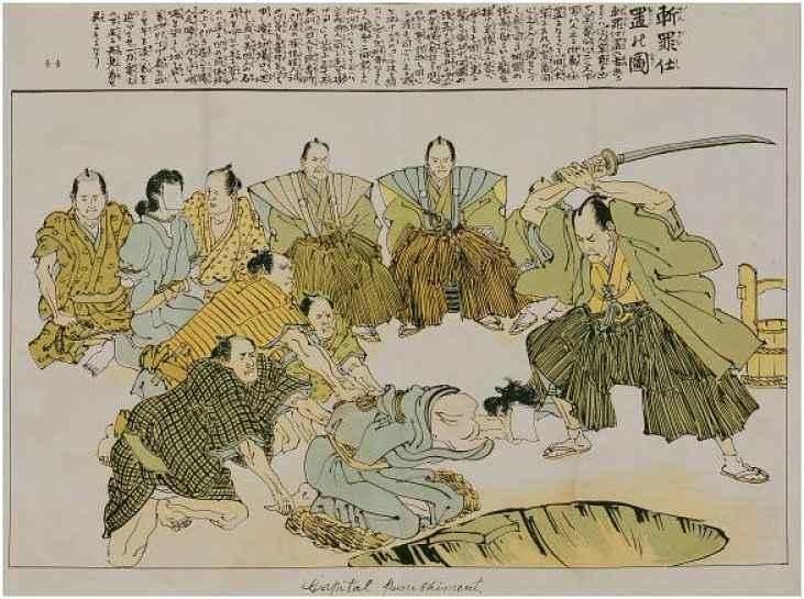 Ilustração de pena de morte do período Edo