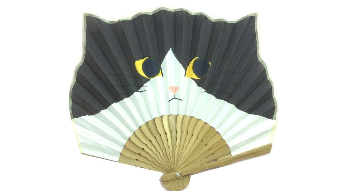 Leque japonês gato preto e branco