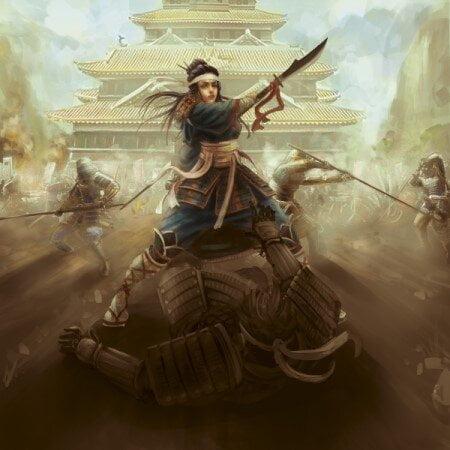Ilustração de Nakano Takeko em campo de batalha