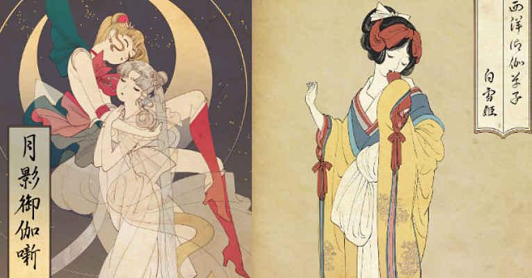 Ukiyo-e versão princesas da Disney