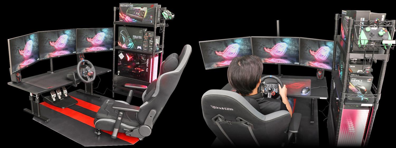 Mesa com tela e volante