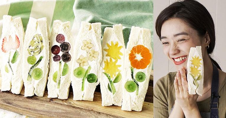 sanduíches de flores com frutas japonesas